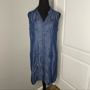 Chico's Chambray Button-Down Sleeveless Dress